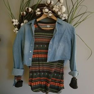 Jean shirt and pattern henley